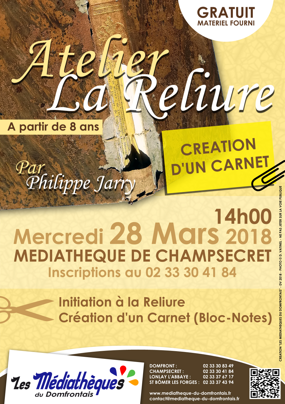 Mercredi 28 mars 2018 : Atelier de Reliure